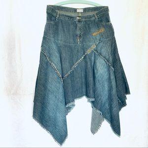 Vintage 1990s Marks & Spencer Per Una Denim Hanky Hem Boho Western Skirt Size 16